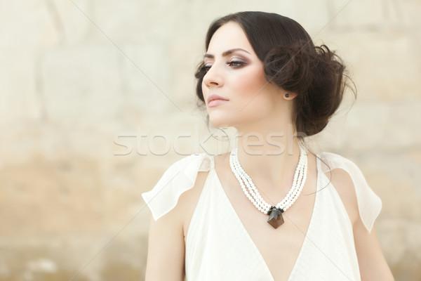 Feminino dignidade belo mulher branco longo Foto stock © blanaru