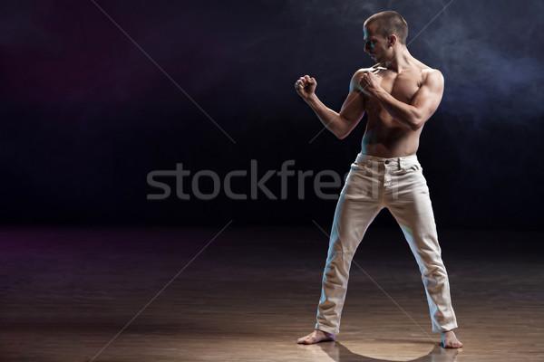 聞く 中心 小さな 筋肉の 男 準備 ストックフォト © blanaru