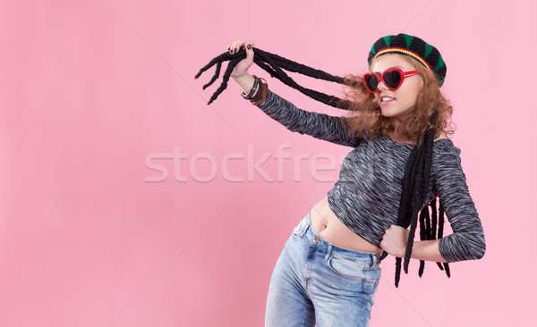 Funky idő portré fiatal nő visel paróka Stock fotó © blanaru