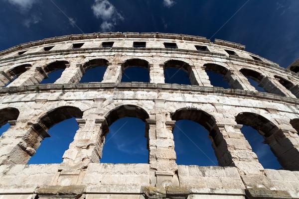 Colosseum részlet római égbolt város nap Stock fotó © blanaru