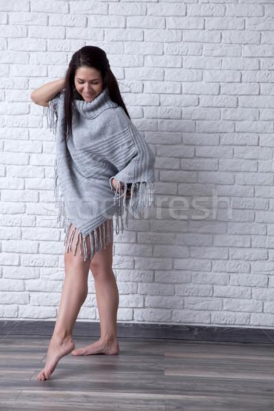 érzés szuper szexi fiatal nő kék szemek pózol Stock fotó © blanaru