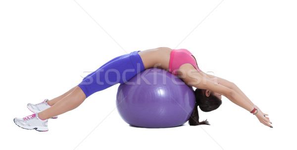 Spinal stretch on the swiss ball Stock photo © blanaru