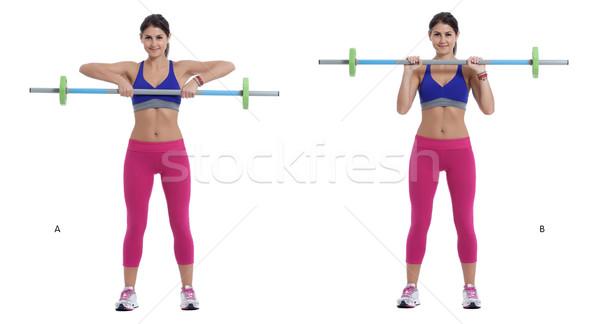 Súlyzó bicepsz váll lépés utasítások tart Stock fotó © blanaru