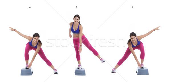 Aerobic Lateral jump on step Stock photo © blanaru