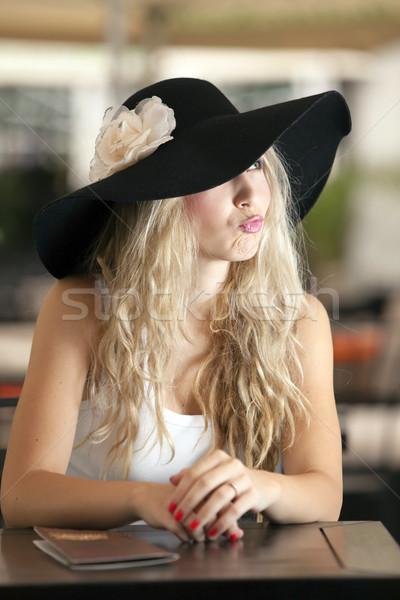Seis loiro menina foco lábios mulher Foto stock © blanaru