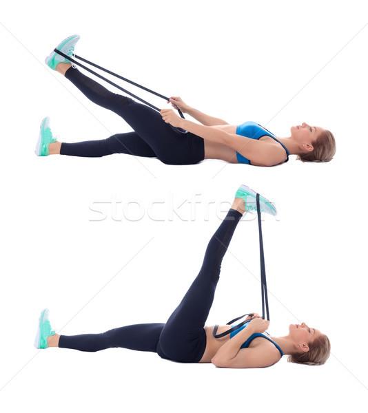 Elastic band hamstring stretch Stock photo © blanaru
