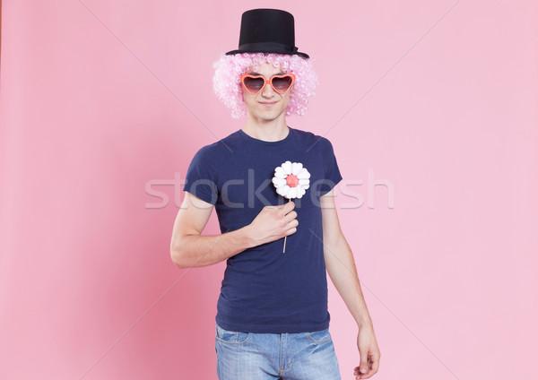 Flower power engraçado retrato moço carnaval Foto stock © blanaru