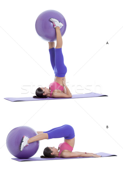 Supine overhead stretch with a swiss ball Stock photo © blanaru