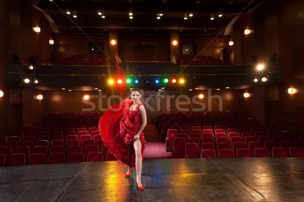Kobieta czerwony sexy flamenco tancerz Zdjęcia stock © blanaru