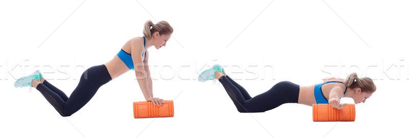 Piana wykonywania wyjaśnienie kobieta ciało mięśni Zdjęcia stock © blanaru