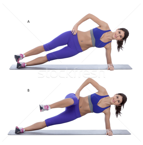Side plank with a knee tuck  Stock photo © blanaru