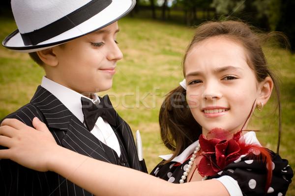 Romantischen Paar Porträt Retro Kleidungsstück Stock foto © blanaru