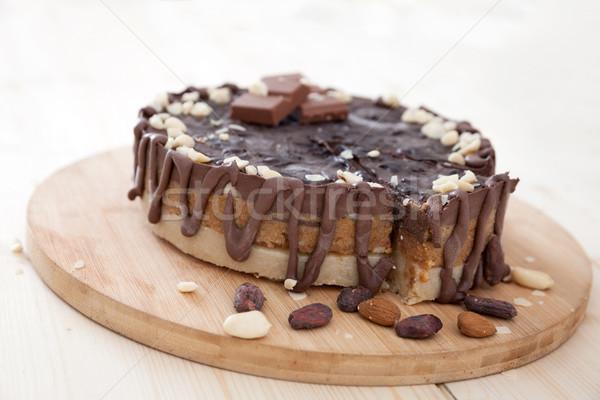 Ruw cake veganistisch chocolade dessert eten Stockfoto © blanaru