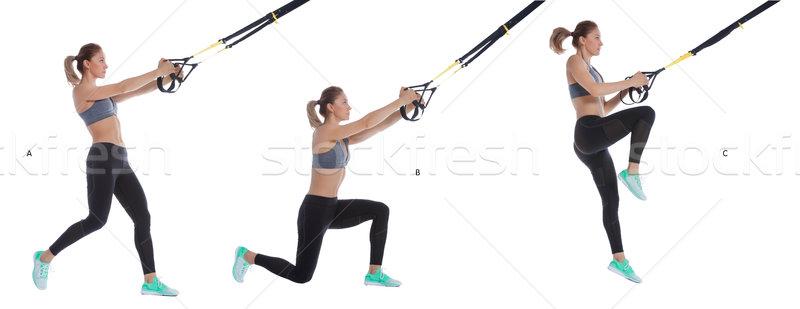 TRX balance lunge with hop Stock photo © blanaru