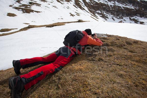 Adam dağ fotoğraf genç ayakta Stok fotoğraf © blanaru
