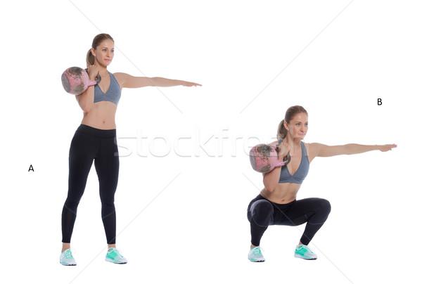 ケトルベル 1 腕 フロント アスレチック 女性 ストックフォト © blanaru