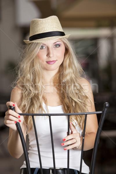Chapeau blond fille heureux métal amusement Photo stock © blanaru