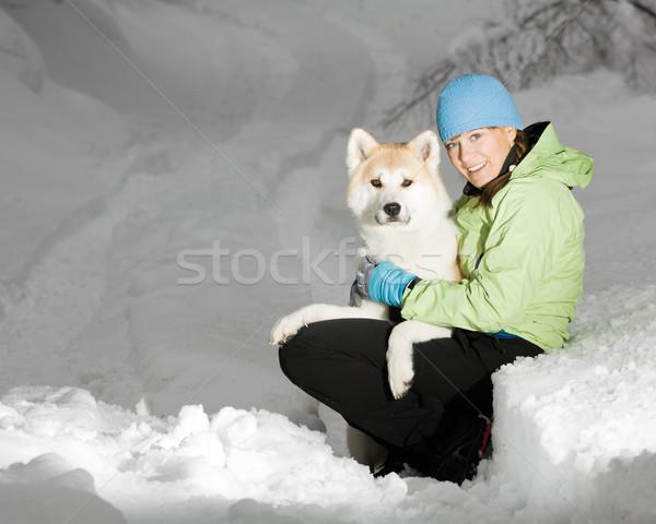 Winter portrait on snow with akita dog Stock photo © blasbike