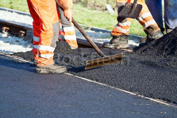 Construção de estradas trabalhadores construção rua urbano trabalho Foto stock © blasbike