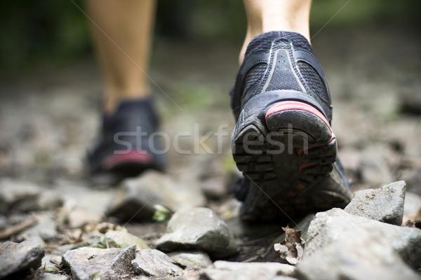 ストックフォト: 歩道 · 徒歩 · 山 · スポーツ · 靴 · 自然