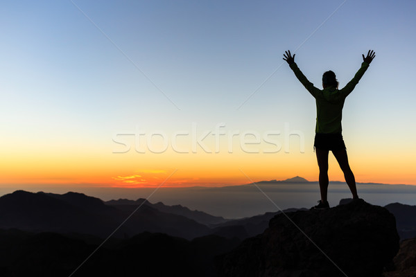 Woman climber success silhouette in mountains, achievement inspi Stock photo © blasbike
