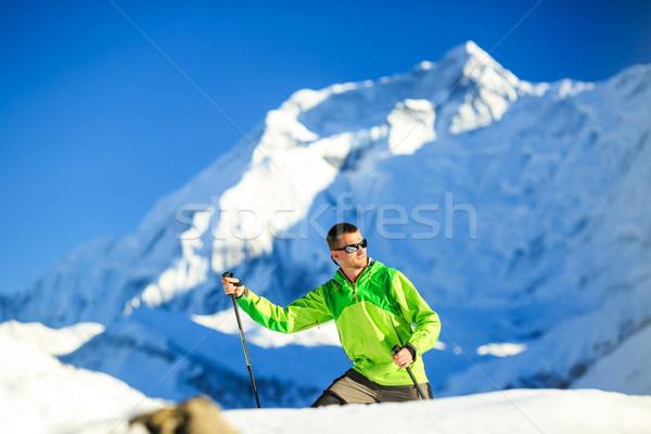 Man hiking in Himalaya Mountains in Nepal Stock photo © blasbike