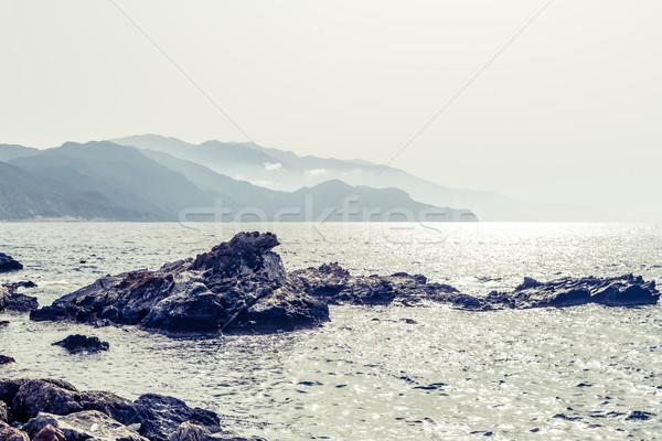 Вдохновенный красивой гор пейзаж морем острый Сток-фото © blasbike