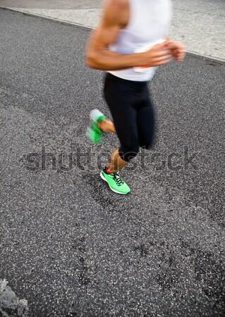 Emberek fut város maraton figyelmeztetés bemozdulás Stock fotó © blasbike