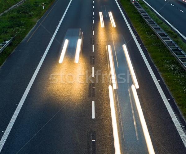 Autópálya forgalom sebesség bemozdult száguld autók Stock fotó © blasbike