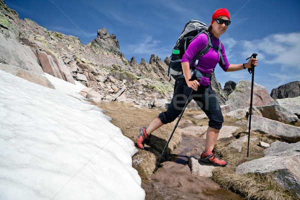 Hiking woman in mountains with snow Stock photo © blasbike