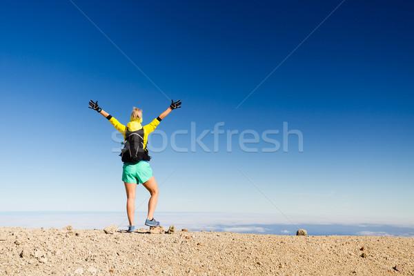 Zdjęcia stock: Kobieta · turystyka · sukces · sylwetka · górskich · górę