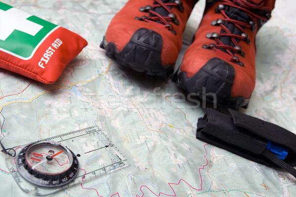 Stockfoto: Wandelen · schoenen · uitrusting · kaart · sport · achtergrond
