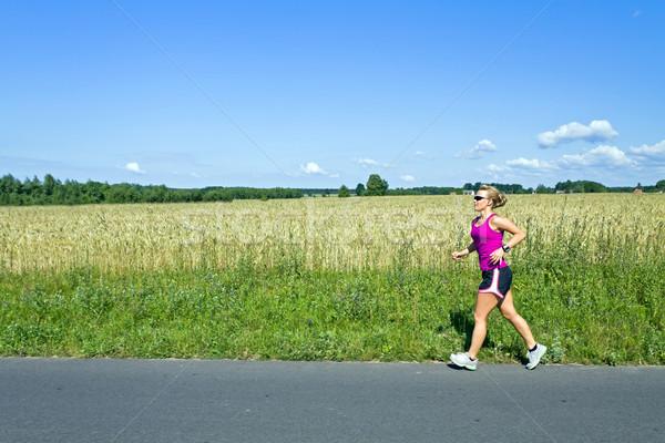 Photo stock: Courir · femme · été · nature · route