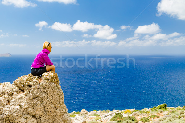Happy trail runner looking at inspirational landscape view Stock photo © blasbike