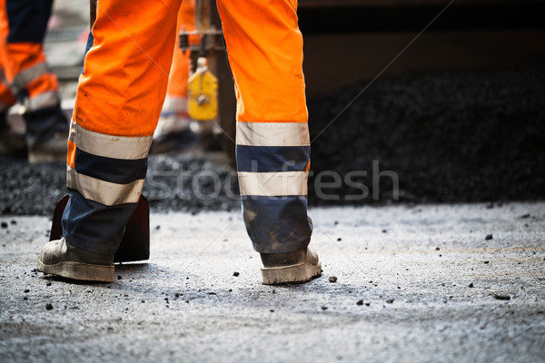 Road construction, new asphalt Stock photo © blasbike