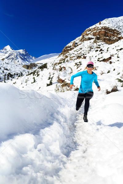 Cross country running in winter mountains Stock photo © blasbike