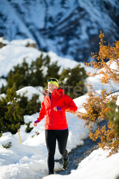 Mulher corrida inverno montanhas branco neve Foto stock © blasbike