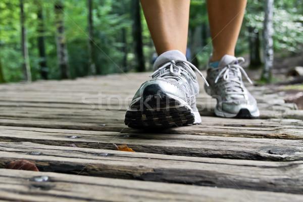 Photo stock: Marche · jambes · parc · femme · forêt · sport
