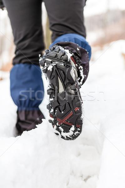 Stockfoto: Lopen · benen · schoenen · sneeuw · parcours · winter