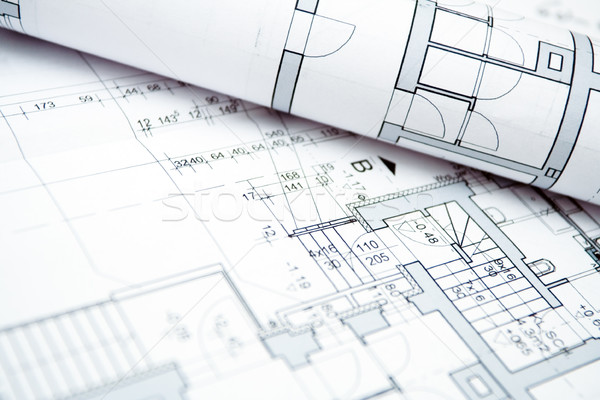 Foto stock: Casa · blueprints · habitação · projeto · engenharia