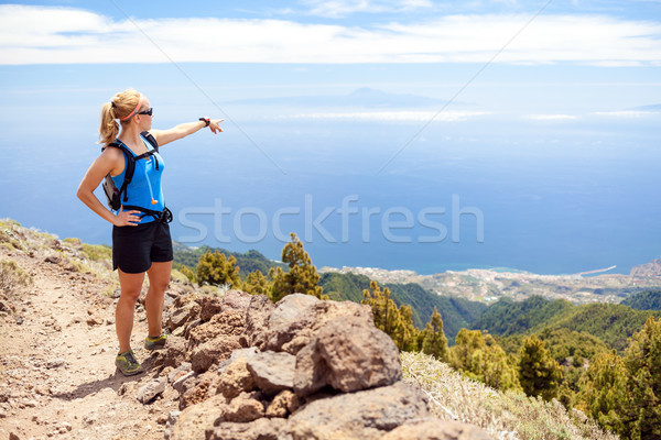 Hiking woman, runner in summer mountains Stock photo © blasbike