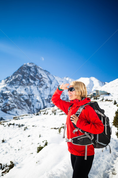 Woman hiker happy hiking, inspirational landscape Stock photo © blasbike