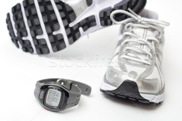 ストックフォト: スポーツ · 時計 · ペア · ランニングシューズ · クロック · フィットネス