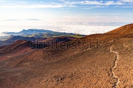Ilham verici manzara kadın çalışma dağ iz Stok fotoğraf © blasbike