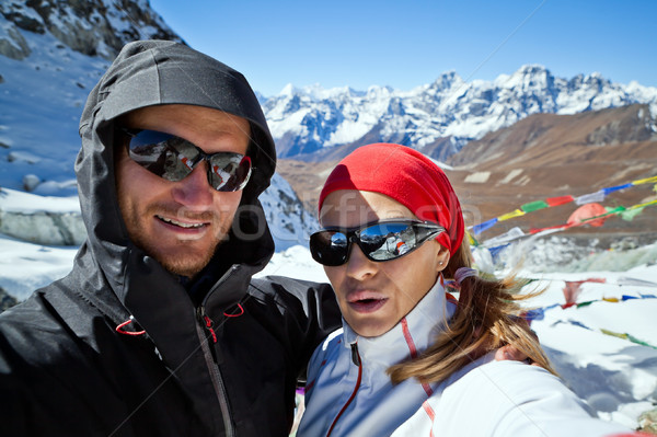 Couple Hiking in Himalaya Mountains, Self portrait Stock photo © blasbike
