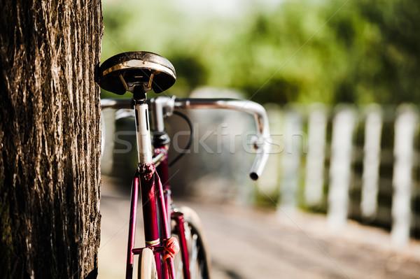 út bicikli figyelmeztetés város retro klasszikus Stock fotó © blasbike