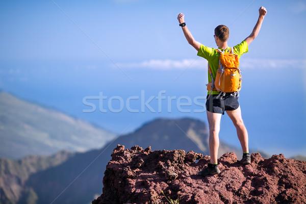 походов успех тропе Runner человека гор Сток-фото © blasbike