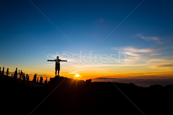 Man with arms outstretched celebrate mountains sunset Stock photo © blasbike