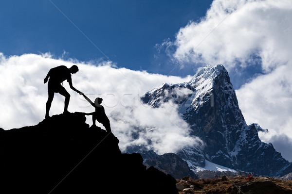 Himalaya paisaje Nepal trabajo en equipo Pareja senderismo Foto stock © blasbike