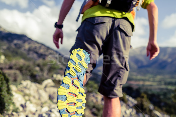 Hiking hiking or running with backpack shoes sole Stock photo © blasbike